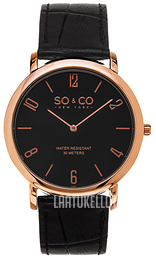 So & Co New York Madison Musta/Nahka Ø39 mm 5043.4