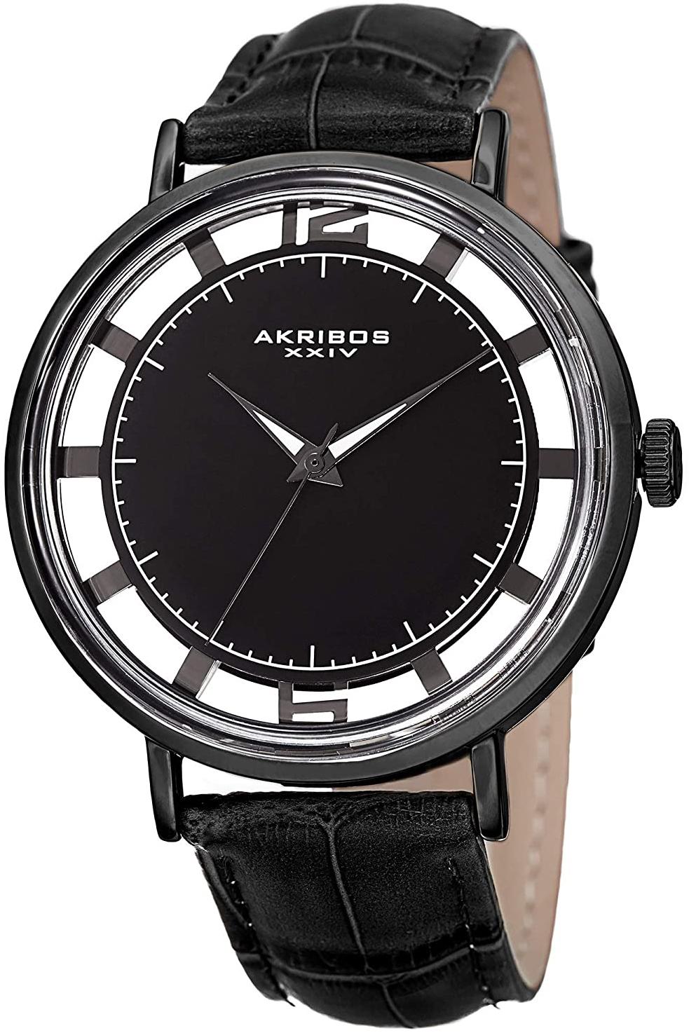 Akribos XXIV 99999 Miesten kello AK860BK Musta/Nahka Ø43 mm