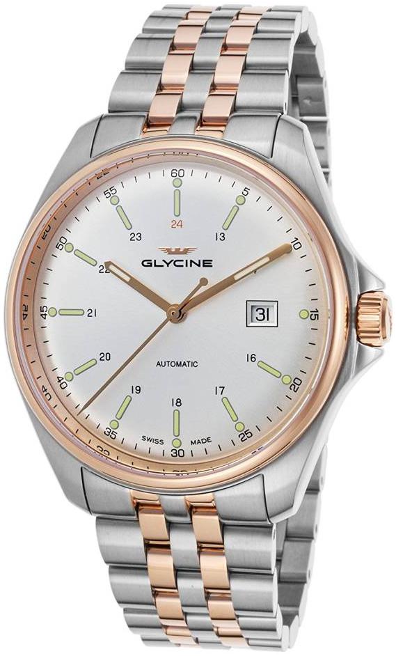 Glycine Combat Miesten kello GL0104 Hopea/Punakultasävyinen Ø43 mm