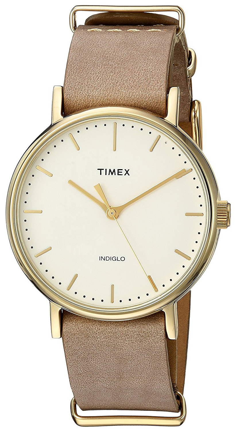 Timex Weekender Naisten kello TW2P98400 Samppanja/Nahka Ø37 mm