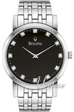 Bulova Diamond Musta/Teräs Ø38 mm