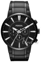 Fossil Chronograph Musta/Teräs Ø48 mm