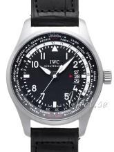 IWC Pilots Worldtimer Musta/Nahka Ø45 mm